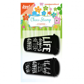 6410/0475-Joy!Crafts clear stempel coffee cup txt