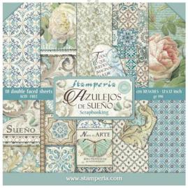 SBBL55-Stamperia Azulejos 12x12 Inch Paper Pack