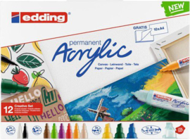 edding- Acrylic Marker starter set Basic 12 ST 1-2/2-3/5-10mm 4-CS12B