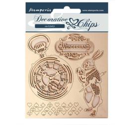 SCB50 - Stamperia Decorative Chips Alice in Wonderland