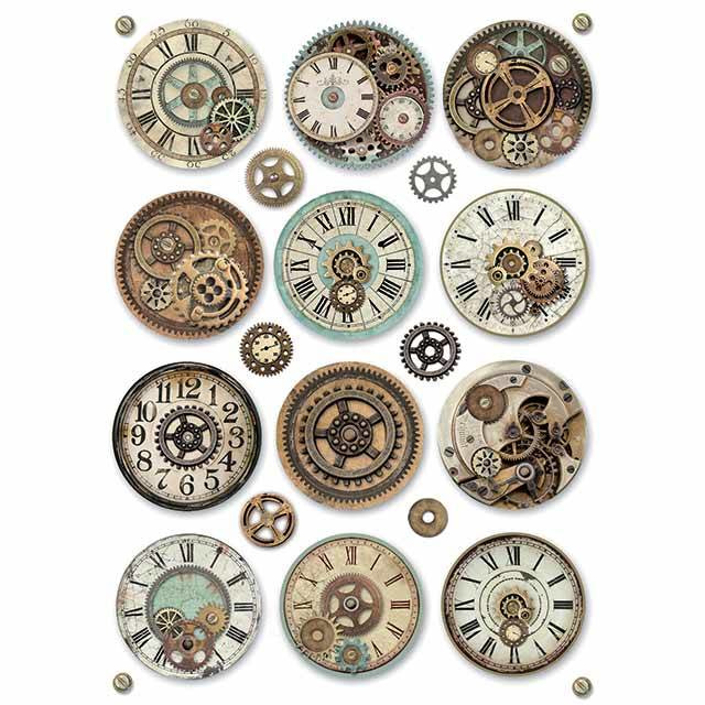 DFSA4369-Stamperia Rice Paper A4 Voyages Fantastiques Gears