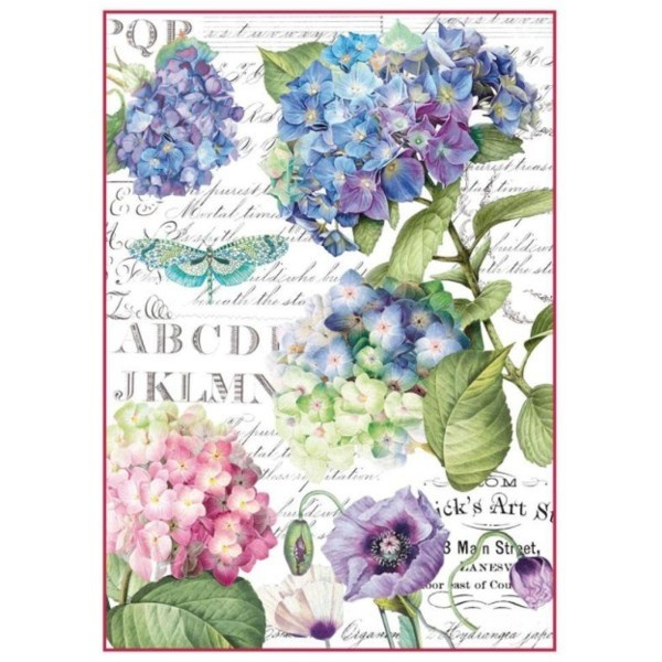 DFSA4307-Stamperia Rice Paper A4 Hortensia & Dragonfly