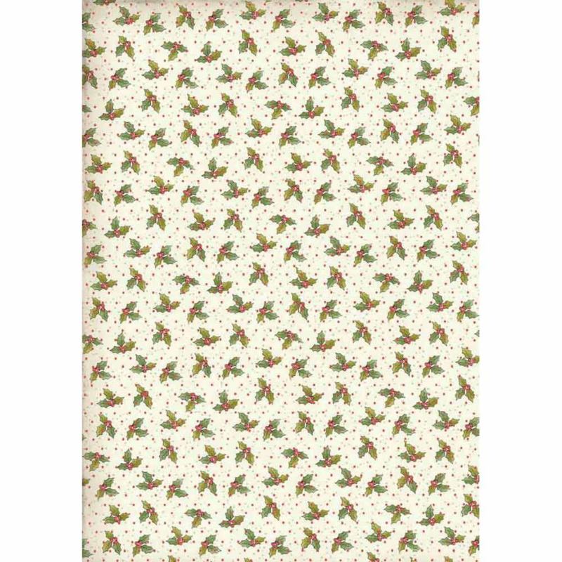 DFSA4311-Stamperia Rice Paper A4 Christmas Vintage Holly