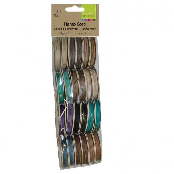 3908-091-Hemp cord assortiment 12x2 1m dark colours