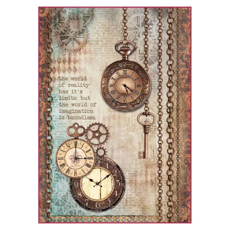 DFSA4288-Stamperia Rice Paper A4 -Clockwise Clock & Keys
