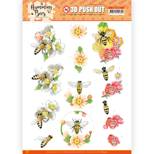 SB10559 - 3D Push Out - Jeanine's Art - Humming Bees - Bee Queen