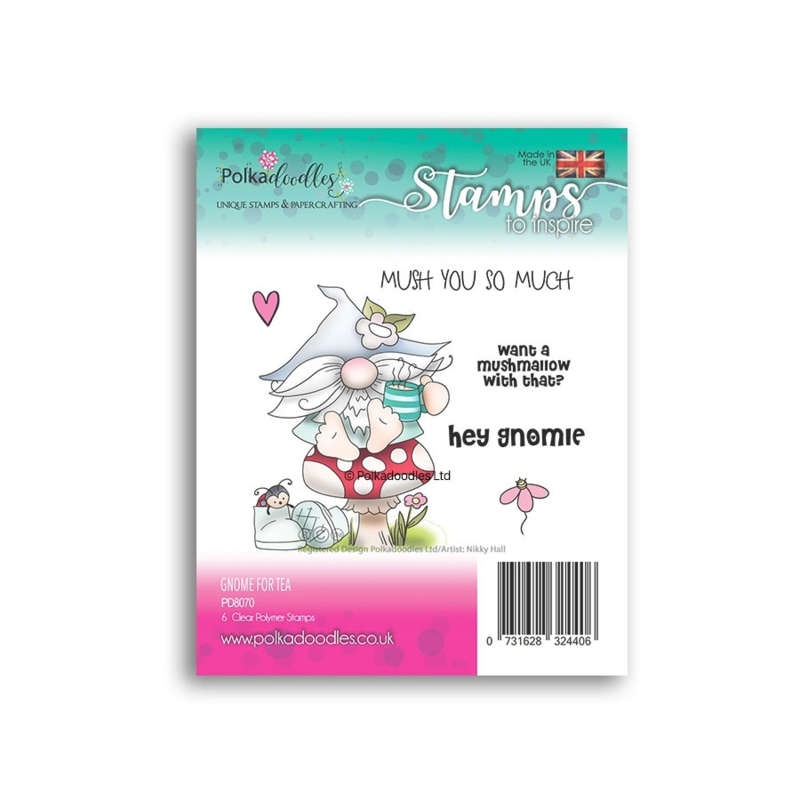 PD8070-Polkadoodles Gnome for Tea Clear Stamps