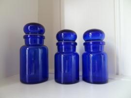 Set blauwe potjes