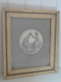 Oud schilderij met religie print