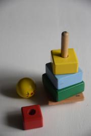 Vrolijk houten stapelblokken poppetje