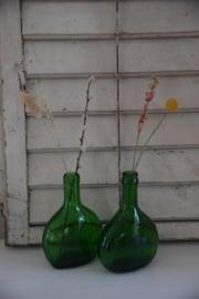 Setje groene glazen flesjes