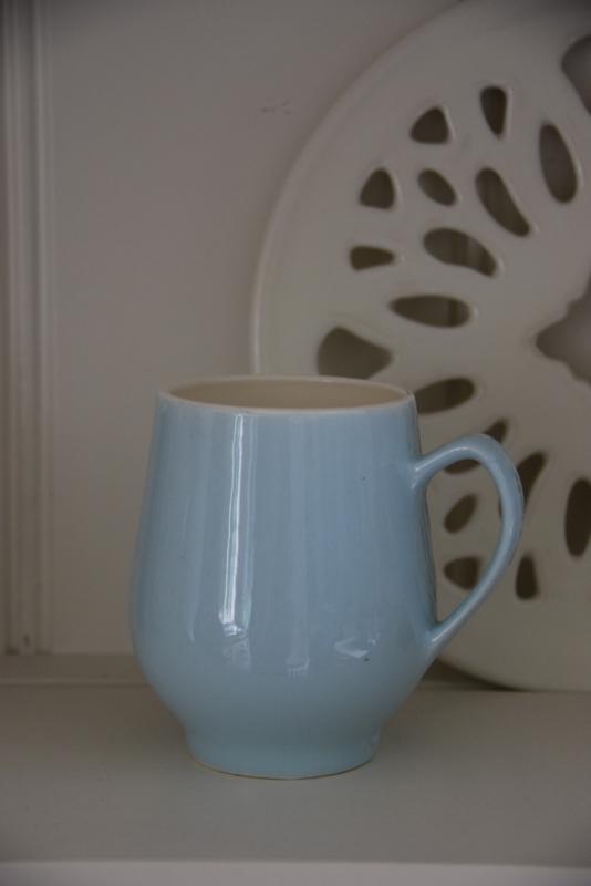 Pastel blauwe Regout beker