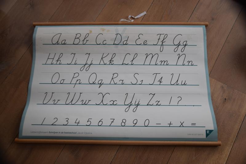 Oude schoolkaart met letters en cijfers