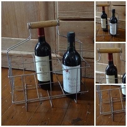 VERKOCHT Brocante flessenmandje - 2012201