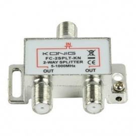 Konig kabel splitter of combiner: 2-weg TV F-splitter