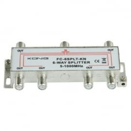 Konig kabel splitter of combiner: 6-weg TV- F-splitter