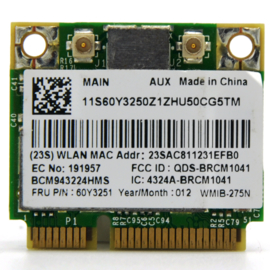 Broadcom WMIB-275N WLAN 802.11a/b/g/n Half Height Mini-PCI-e Wifi Card
