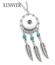 Ketting dromenvanger blauw triple met 18 mm beads