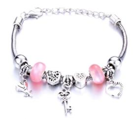 Armband sleutel bloem hart rose