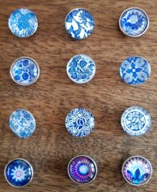 Drukknopen bloemen blauw