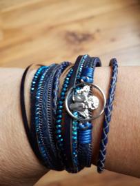 Leren wikkelarmband donkerblauw