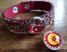 Armband rood glitter