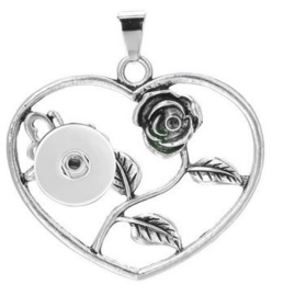 Ketting hart roos met 18 mm beads