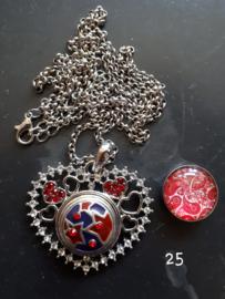 Ketting hart met 18 mm beads