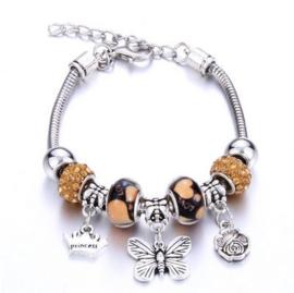 Armband beige vlinder