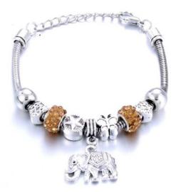 Armband beige goud olifant
