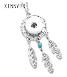 Ketting dromenvanger blauw met 18 mm beads