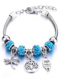 Armband levensboom uil libelle blauw