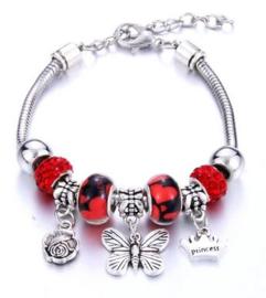 Armband rood vlinder