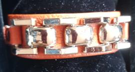 Oranje leren armband