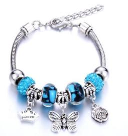 Armband blauw vlinder