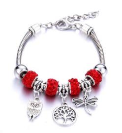 Armband levensboom libelle uil rood