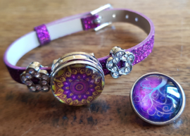 Armband paars-fuchsia glitter