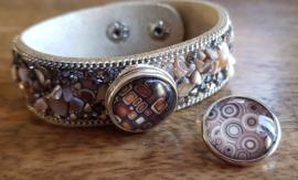 Armband ecru-bruin steen