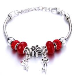 Armband sleutel bloem rood
