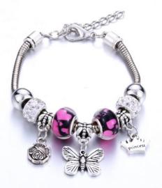 Armband rose vlinder