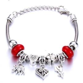 Armband hart bloem olifant rood