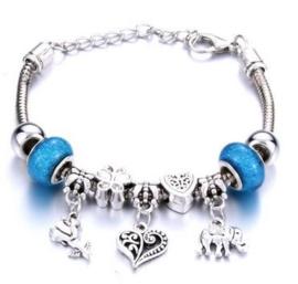 Armband hart bloem olifant blauw