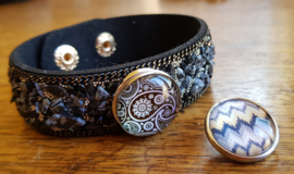 Armband zwart-grijs steen