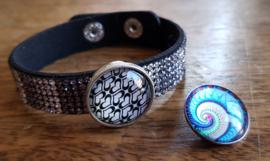 Armband zwart-zilver strass