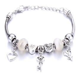Armband sleutel bloem hart wit