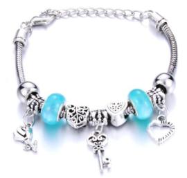 Armband sleutel bloem hart blauw