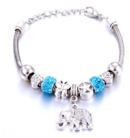 Armband blauw olifant