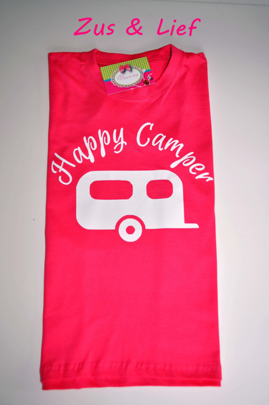 Happy Camper T-Shirt roze