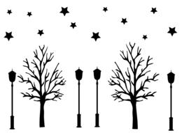 Raamsticker Uitbreiding bomen, sterren en lantarens