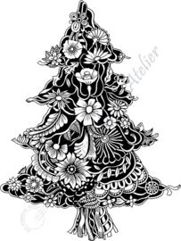 HP Stempel 79p, Kerstboom met bloemen